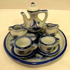 Vintage Miniature Porcelain Doll Tea Coffee Set Blue And White