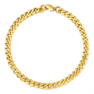 Mens Womens 3/5/7/9/11mm Curb Cuban Chain Bracelet Gold Plated Stainless Steel