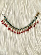 Colors: Red, Gold, and Turquoise T8 Handmade Color Beads Anklet Fashion Jewelry