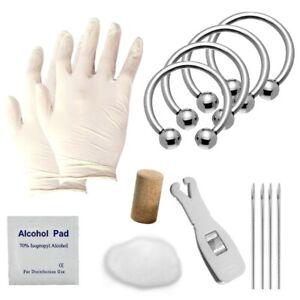 NEW!! 17Pcs Professional Surgical Steel Horseshoe Piercing Kit Septum/Lip/Ear