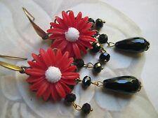 Orecchini vintage margherite e onice nera fiori daisy