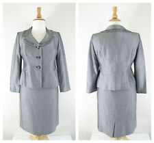 Collection Le Suit Plus Size Petite Silver Gray Skirt Suit Sz 14P Formal Career