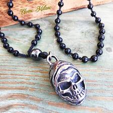 Onyx Acier Inoxydable Skull Casque Chaîne Rosaire tete de mort argent necklace Spartan 2