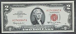 Uncirculated 1963 A Two Dollar Red Seal United States of America $2 Series 1963A