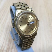Vintage Citizen 6100 Men Gold Tone Analog Quartz Watch Hour~Day Date~New Battery
