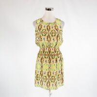 Light pink green paisley 100% silk TIBI stretch sleeveless A-line dress 0