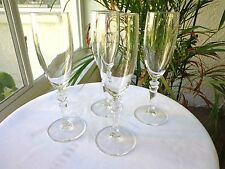 Set of 4 Cris D'Arques Cortina Pattern Clear Crystal Champagne Flutes