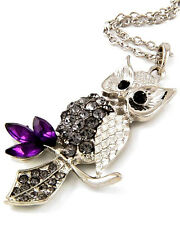 """Gorgeous Owl Pendant Necklace on 30"""" Long Chain Gift Boxed Fast Shipping"""