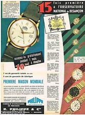 PUBLICITE ADVERTISING 095  1961  PHILIPPE  Prix de l'OBSERVATOIRE  montres