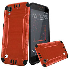For HTC Desire 530 Combat Brushed Metal HYBRID Rubber Case Phone Cover Accessory