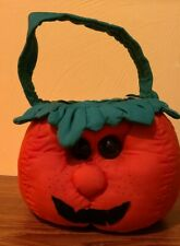 Vintage Halloween Pumpkin Trick Or Treat Candy Pail Stuffed Fabric