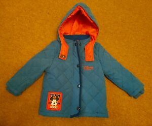 Baby Blue Disney Sport Mickey Mouse Padded Coat Jacket 12-18 Months