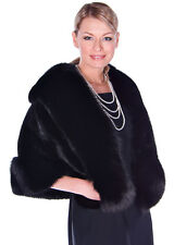 Womens Real Mink Fur Cape Stole - Genuine Black Ranch Mink and Black Fox Trim
