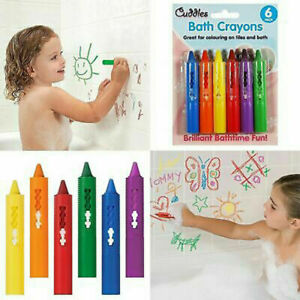 6 Coloured Washable Bath Crayons Tiles Crayon Kids Paints Drawing Fun Toy Pens