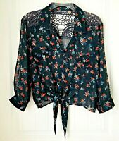 Women's Size XL Gray with Floral print  Sheer Blouse with Floral Embroidery