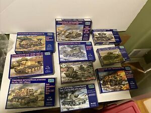 LOT OF 10 UM UNIMODEL MILITARY 1/72 SCALE TANKS & ARMOR MODEL KITS