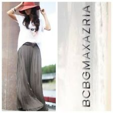 $228 NWT BCBG MAX AZRIA M Charcoal Gray Esten Sunburst Pleat Illusion Maxi Skirt