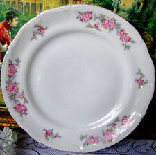 """Chodziez Pink Rose With Gray Fern Leaf Dinner Plate, Poland Rose 10 1/4"""" Plate"""
