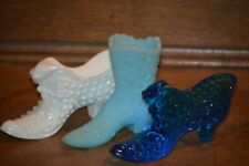 FENTON Ladies Boot & Shoes with Cats - Blue Satin, Colonial Blue & Milk Glass