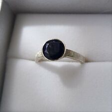 Contemporary blue sapphire brushed silver ring size Q