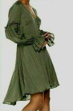 NWT BCBG MAXAZRIA DUSTY OLIVE PEASANT DRESS,GREEN,LONG SLEEVES, RUFFLE, XS BCBG