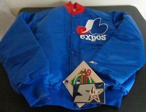 MONTREAL EXPOS Baseball STARTER Diamond VINTAGE Snap Up LARGE Jacket MLB New