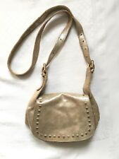 Zara Small Pale Gold Distressed Leather Crossbody Satchel Saddle Bag Gold Studs