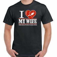 Scuba Diving T-Shirt Dive Sea Diver I Love My Wife Mens Funny Equipment Gear