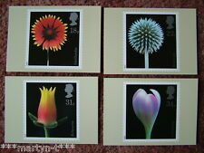 PHQ Stamp card set No 99 Flowers, 1987. 4 card set.  Mint Condition.