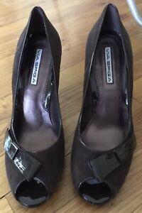 VIA SPIGA brown patent leather suede peeptoe stiletto heels shoes pumps 10