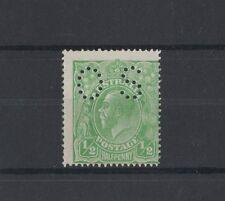 1915 Australia KGV 1/2d green SG O38 single wmk OS perfin mlh