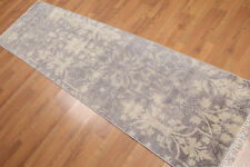 "2'4"" x 8' Hand Knotted Botanical distressed Wool runner Area rug AOR8512 Gray"