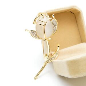 Opal Rose Flower Brooches Fashion Rhinestone Alloy Party Pins For Women Jewelry