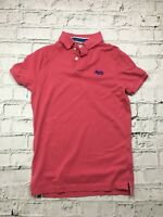 Superdry Men's Polo Shirt Short Sleeve Pink Cotton Size M