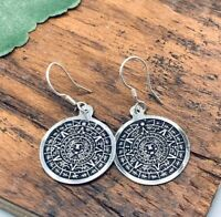Taxco Mexican Aztec Calendar Earrings 950 Sterling Silver Mexico Tribal -NEW