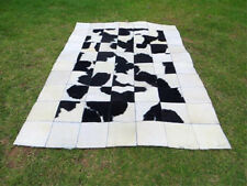 BIG ! Patchwork Cowhide rug Cow Hide Skin HAIR Carpet Leather PA32 BLACK & WHITE