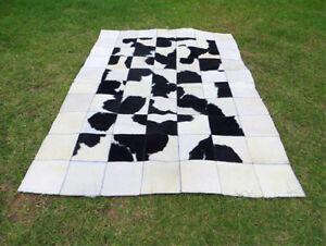 BIG ! Patchwork Cowhide rug Cow Hide Skin HAIR Carpet Leather PA32 BLACK & WHITE