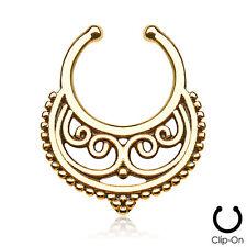 Tribal Crescent Swirl Fake Nose Septum Clip On Non Piercing Hanger Ring #15