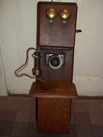Vtg Stromberg Carlson Two Box Hand Crank Oak Telephone Early 20th C Wall Phone