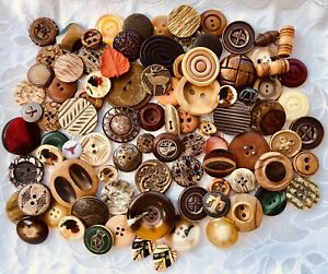 Vintage Buttons Lot 90 Earth Tones Look at Photos! Collect or Craft