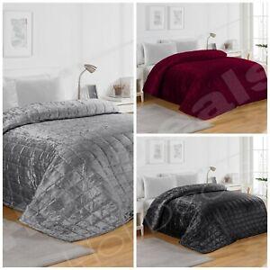 Luxurious Velvet Quilted Bed Spread Duvet Set/Comforter Bedding Throw King