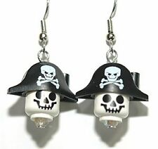 PIRATE SKELETON HEAD MINI FIGURE DANGLE EARRINGS (L023)