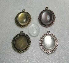 4 oval setting pendant frames for 18 x 25 mm cabochons + glass domes sample set