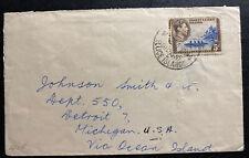 1955 Gilbert & Ellice Islands Cover To Detroit MI USA Via ocean Island