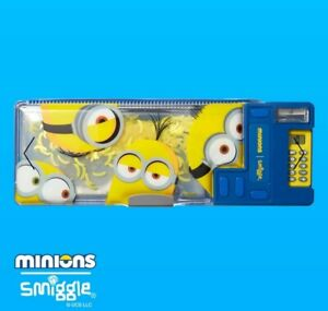 LIMITED EDITION! SMIGGLE MINIONS POP OUT CALCULATOR PENCIL CASE DOUBLE SIDED