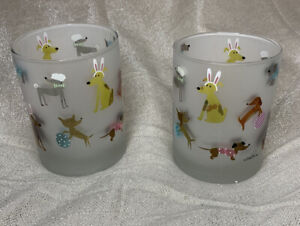 Culver Easter Puppy Dogs Frosted DOF Cocktail Bar Glass Set of 2 New