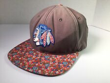 23f3703a2c4 Chicago Blackhawks American Needle Floral Flat Brim Strapback Hat Cap Gray  Red