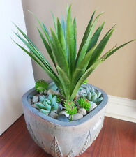 """Set of 9 Artificial Grass Succulents Plants 10"""" Tall Aloe Bush With Grass"""