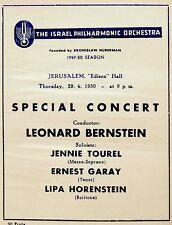 """1950 LEONARD BERNSTEIN Israel CONCERT PROGRAM """"Das Lied Von Der Erde"""" MAHLER"""