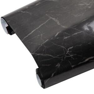 "Marble Vinyl Black Grain Wallpaper Wrap Table Waterproof Vinyl Kitchen 48""x20"""